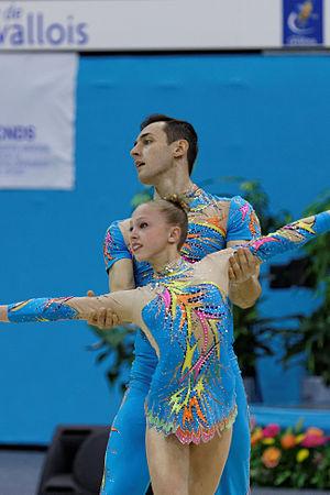 Artur Beliakou - Artur Beliakou and Aliona Dubinina at the 2014 Acrobatic Gymnastics World Championships.