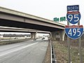 2016-01-22 09 01 57 View north along the outer loop of the Capital Beltway (Interstate 95 and Interstate 495) just north of Exit 3A in National Harbor, Prince Georges County, Maryland.jpg