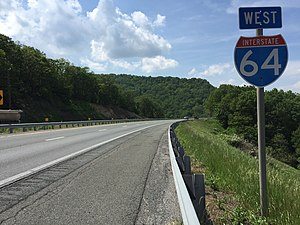 Interstate 64 in Virginia - View west along I-64 near Waynesboro