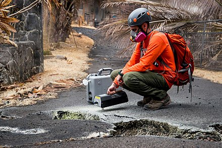 US Geological Survey volunteer tests for sulfur dioxide after the 2018 lower Puna eruption 20180519 USGS Leilani Estates Hawaii Volcanic EruptionDSC 0411 medium.jpg