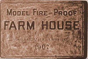 A. L. A. Himmelwright - Plaque on model farmhouse.