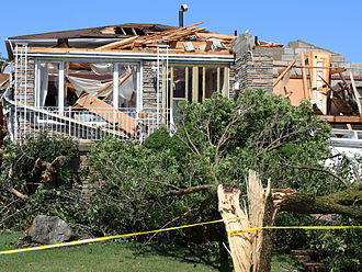 Southern Ontario Tornado Outbreak of 2009 - A severely damaged home in Vaughan sustains powerful F2 damage at 34 Houston Rd.