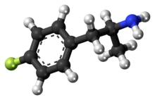 Ball-and-stick model of the 4-fluoroamphetamine molecule