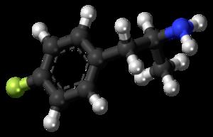 4-Fluoroamphetamine - Image: 4 Fluoroamphetamine molecule ball