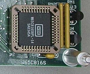 WDC 65816/65802 - PLCC-44 version of W65C816S microprocessor, shown mounted on a single-board computer.