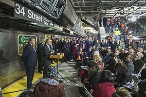 7 Subway Extension - The 34th Street station on December 21, 2013