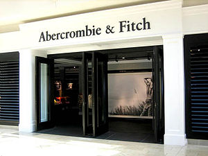 Abercrombie & Fitch - The Modern Canoe store located at the Mall at Millenia in Orlando, Florida with wooden louvers (featuring the Spring Break 2007 marketing campaign picture).
