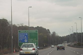 A3 road - Northbound near the Wisley Interchange with the M25