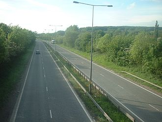 Dual carriageway - A typical British dual carriageway with central barrier on the A63 near Hull, England