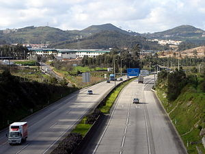 Roads in Portugal - A8 motorway, near Malveira.