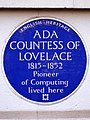 ADA COUNTESS OF LOVELACE 1815-1852 Pioneer of Computing lived here.jpg