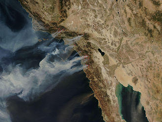 October 2007 California wildfires - NASA satellite photo (provided by NSPO, Taiwan National Space Organization) from October 22, 2007, showing the active fire zones and smoke plumes.