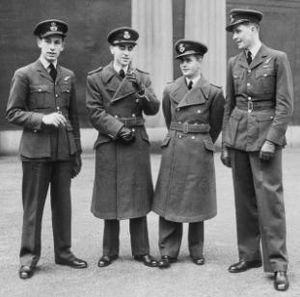 """No. 466 Squadron RAAF - London, November 1943. The all-British/RAF crew of 466 Sqn Wellington """"HD-L"""" at Buckingham Palace, about to receive medals resulting from their mission on 14 April: Flying Officer Raymond Hopkins DSO of Newport, Wales (left); Pilot Officer Frederick Blair DFM of Belfast, Pilot Officer Edward Hicks CGM of Newbury Park, Essex and Flying Officer Reginald Clayton DFC of Carshalton, Surrey."""