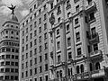 A Black and white photograph of building at Gran Via, Madrid Spain 031.JPG