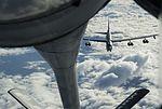 A KC-135 Stratotanker prepares to refuel a B-52 Stratofortress (31391451964).jpg