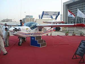 Pakistan Aeronautical Complex - An MFI-395 Super Mushshak, produced at AMF, on display at the IDEAS 2008 defence exhibition in Karachi, Pakistan.