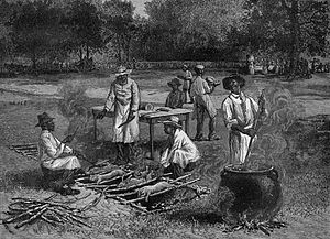 Barbecue in the United States - A Southern Barbecue, 1887, by Horace Bradley