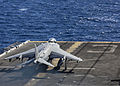 A U.S. Marine Corps AV-8B Harrier aircraft assigned to Marine Medium Tiltrotor Squadron (VMM) 266, 26th Marine Expeditionary Unit (MEU) prepares to take off from the flight deck of the amphibious assault ship 131101-M-SO289-009.jpg