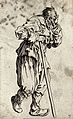 A bearded beggar dressed in rags holding a staff in his righ Wellcome V0020327EL.jpg