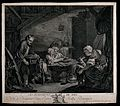 A family are shelling peas in a barn with old barrels in it. Wellcome V0040538.jpg