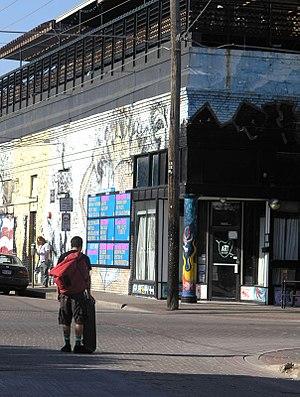 Deep Ellum, Dallas - A skater along Main Street in Deep Ellum