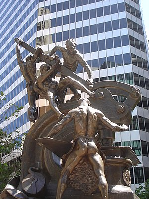 Social class in the United States - Douglas Tilden's monument to the working and supporting classes along Market Street in the heart of San Francisco's Financial District