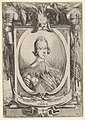 A portrait of Francesco de' Medici, within an oval frame, decorated with military equipment, battle scenes at bottom left and right outside of frame MET DP833227.jpg