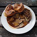 A roast lamb Sunday dinner at The Black Bull, Fyfield, Essex, England.jpg