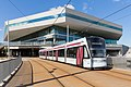 A tram approaching Dokk1, Aarhus.jpg