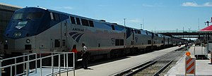 Higher-speed rail - Amtrak's Southwest Chief at Albuquerque, New Mexico.