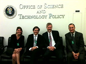 Access2Research - The Access2Research Founders, Heather Joseph, John Wilbanks, Michael W. Carroll and Mike Rossner after meeting at the White House Office of Science and Technology Policy.