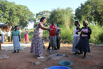 Fecal–oral route - Villagers during a CLTS triggering exercise go to the place where meals are prepared to observe how flies are attracted to human feces and carry diseases by landing on the food (village near Lake Malawi, Malawi)