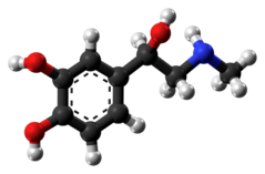 Ball-and-stick model of adrenaline molecule