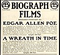 Advertisement for Biograph films Edgar Allen Poe and A Wreath in Time, 1909.jpg