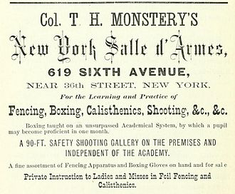 Colonel Thomas Hoyer Monstery - Advertisement for Monstery's salle d'armes