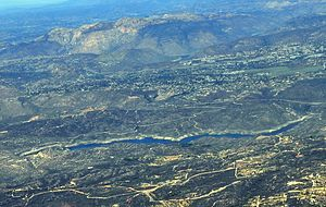 Loveland Dam - Aerial view of Loveland Reservoir from south