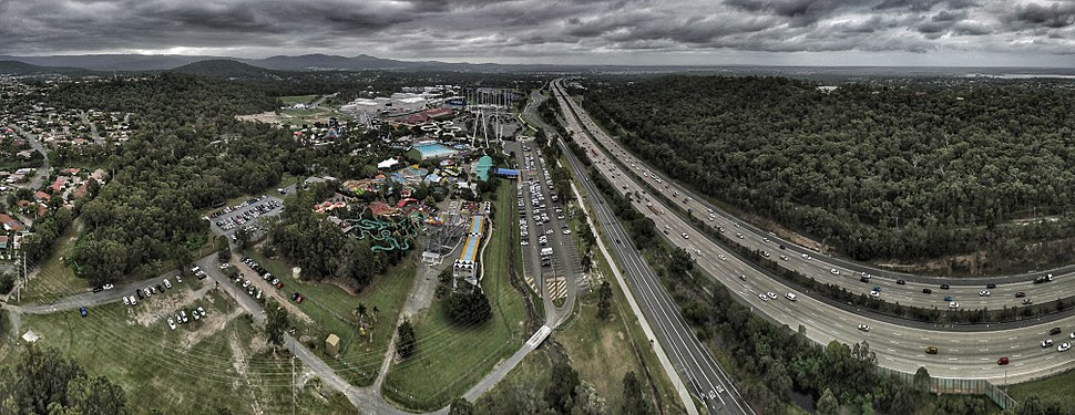 Aerial panorama of Wet and Wild in the Gold Coast
