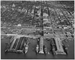 Aerial photograph of piers at headquarters and at U. S. Naval Repair Base during loading operations showing nine... - NARA - 295638