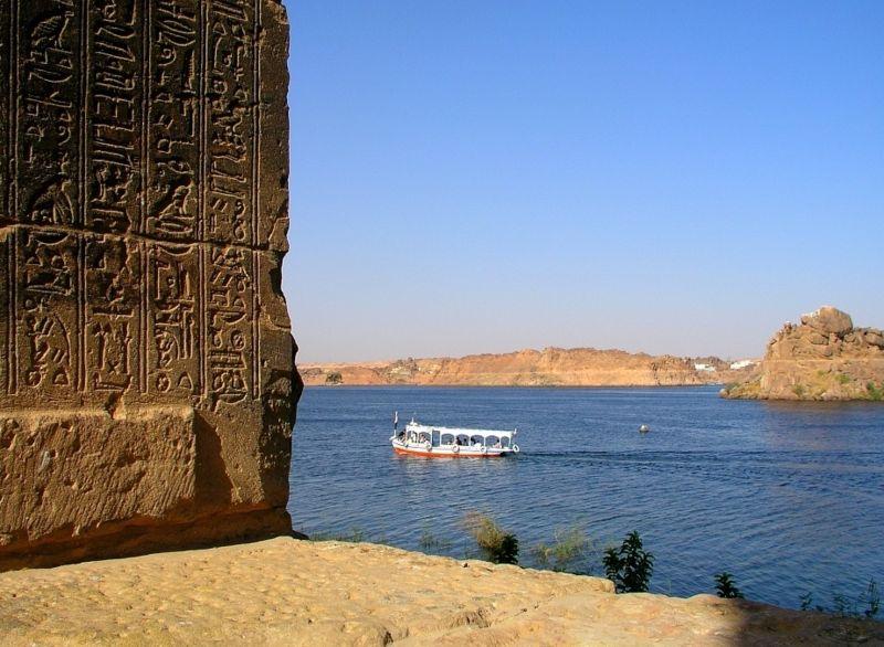 El Río Nilo visto desde el Templo de Isis