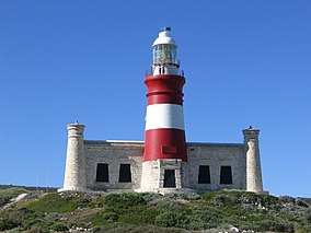 A lighthouse tower painted in red and white stripes.