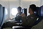 Air Crew from the Royal Australian Air Force and Japan Air Self Defense Force sit aboard the KC-30A Multi Roll Tanker Transport during a flight in support of Cope North 13.jpg