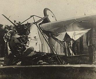 Constitutionalist Revolution - Legalistic plane shot down by rebel troops São Paulo in 1932.