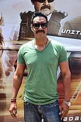 Ajay Devgn at Tezz promotional bus ride (4).jpg