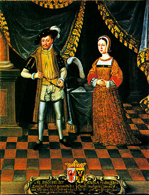 Anna of Saxony, Electress of Brandenburg - Anna of Saxony with her husband Albert Achilles, painting painted around 1625 (long after her death), in Gripsholm Castle