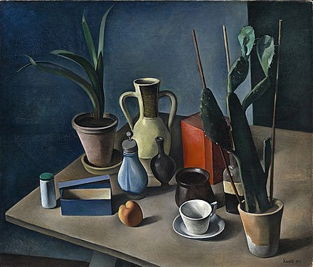 Alexander Kanoldt, Still Life with Jugs and Red Tea Caddy (1922)