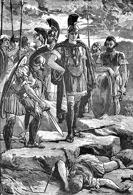 Alexander standing over the body of Darius III. Alexander and the body of Darius.jpg