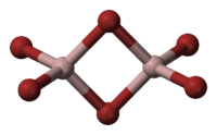 Ball and stick model of dimeric aluminium bromide