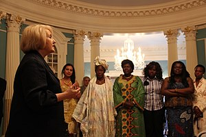 Entrepreneurship - In 2012, Ambassador-at-Large for Global Women's Issues Melanne Verveer greets participants in an African Women's Entrepreneurship Program at the State Department in Washington, D.C.