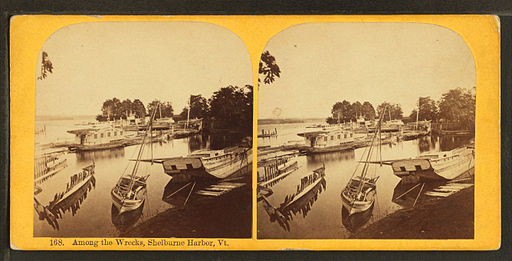 Among the wrecks, Shelburne Harbor, Vt, by Styles, A. F. (Adin French), 1832-1910