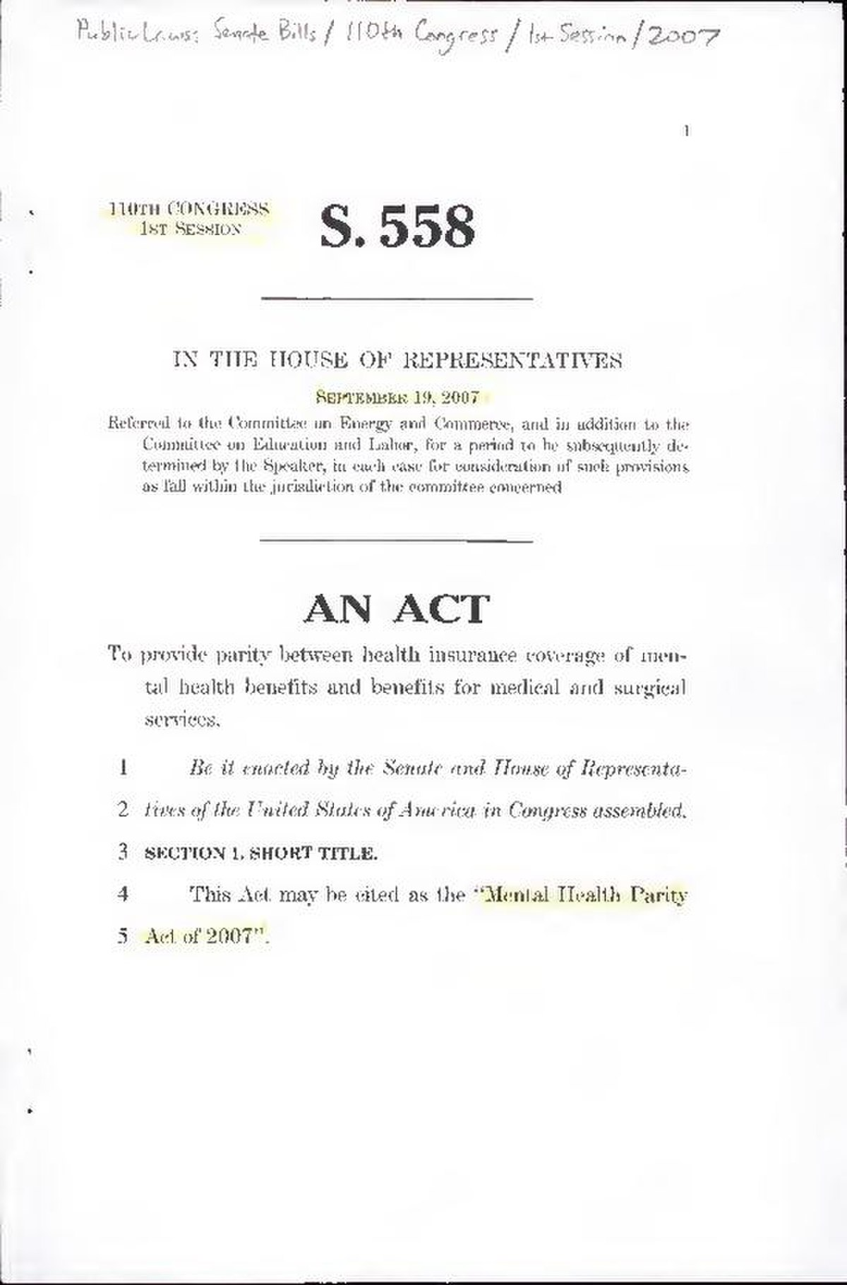 File:An act to provide parity between health insurance ...